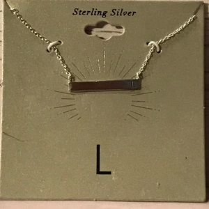 "Sterling Silver Monogram ""L"" Bar Chain"